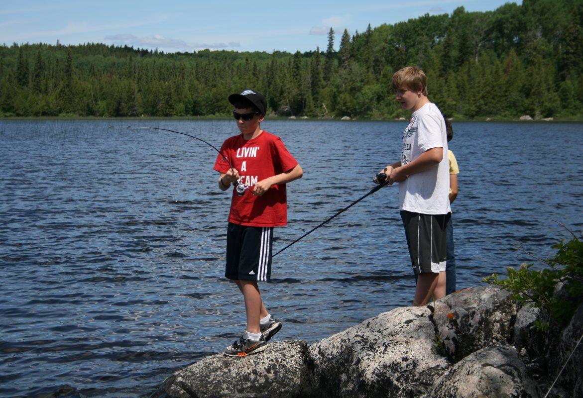 Family fishing at tatnall Camp